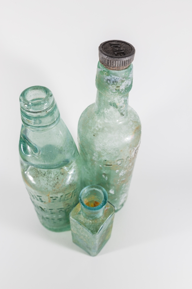 Bottles rescued from The River Thames.